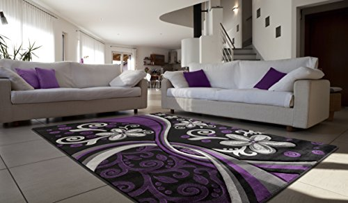 """All New Contemporary Floral Design with Swirls Area Rug Legacy Collection by Rug Deal Plus (7'11"""" x 10'7"""", Purple/Black)"""