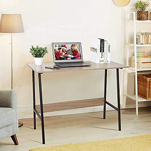 Viewee Schreibtisch Klein Computertisch Bürotisch Einfach Modern Büro Arbeitstisch Industrieller Trapezstruktur Platzsparend mit Ecktischschutz für Büro/Wohnzimmer/Kinderzimmer für Arbeit Lernspiele