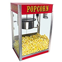 Movie-theater-style popcorn machine; has bright red cabinet and classic graphics Suited for retail use; produces delicious, theater-quality popcorn in just minutes Can pop up to 147 servings of popcorn per hour (1 ounce of popcorn per serving) Side-h...