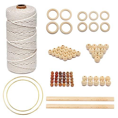 Cuerda de macramé,Macrame Cuerda Kit,Cuerda de macramé cuentas de madera,Kit Macrame Cuerda Natural,para DIY Macrame Kit,Colgante de Macrame Pared,Colgador de Plantas (Caqui)