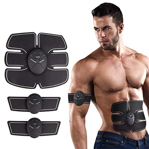 DY_Jin Electrostimulador Muscular Abdominal con Cinturones de Soporte, Abs Trainer EMS de Tono Abdominal, Body Fitness para Mujeres y Hombre