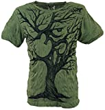 Guru-Shop Sure T-Shirt OM Tree, Herren, Olive, Baumwolle, Size:L, Bedrucktes Shirt Alternative Bekleidung