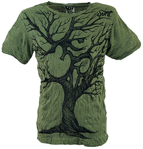 GURU SHOP Sure T-Shirt OM Tree, Herren, Olive, Baumwolle, Size:L, Bedrucktes Shirt Alternative Bekleidung