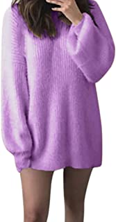 PERFURM Womens Sweater Plain Color Crewneck Loose Oversized 5XL Pullover Soft Warm Knitted Tunic Baggy Tops Knitwear