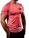 Satire Gym T-Shirt Fitness Uomo - Abbigliamento Sportivo Funzionale - Adatta al Work out e all'Allenamento - Slim Fit (Rosso chiazzato, S)