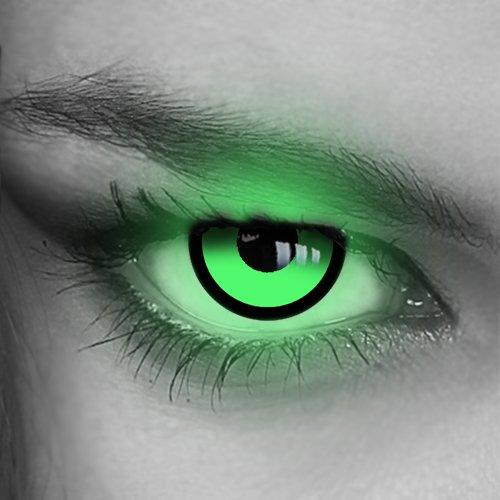 Kontaktlinsen farbig UV Neon - (GRÜN,BLAU,PINK,GELB,ORANGE) - Crazy Fun Halloween Party Fasching Karneval Disco (Grün/Green)
