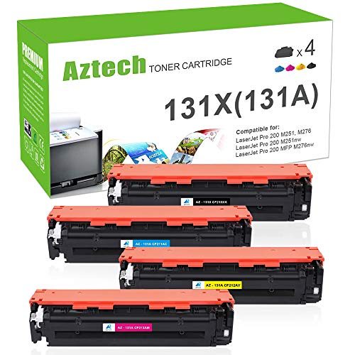 Aztech Compatible Toner Cartridge Replacement for HP 131X 131A CF210X CF210A CF211A CF212A CF213A Laserjet Pro 200 Color MFP M276n M276nw M251n M251nw MF8280Cw (Black/Cyan/Yellow/Magenta, 4-Pack)