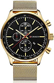CURREN Men's Analog Quartz Black Gold Army Style Waterproof Watch - 8227