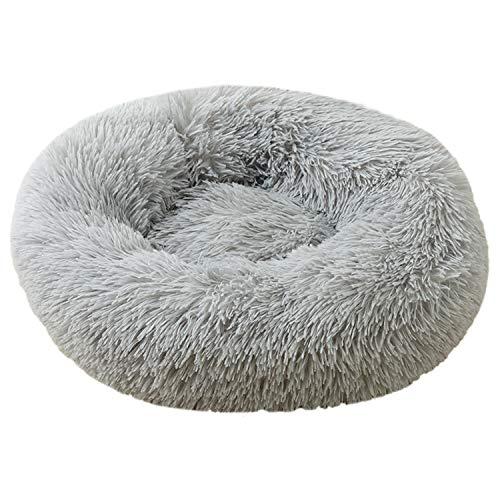 Voqeen Plüsch-Donut-Hunde-/Katzenbett, rund, warm, kuschelig, weiches Welpen-Sofa, Katzenkissen, Bett, silbergrau, Plüsch, rutschfeste Unterseite, beruhigendes Nestbett