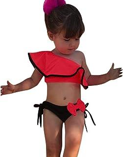 Bañador Bebe Niña, 2 Piezas Traje De Baño Moda Monokini Sin Tirantes Sólido con Volantes Dividir Natación Verano Tops Pantalones Cortos Monokini Bañador 2020 Brasileño Bikini