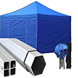 Gazebo Blu 3x3 Pieghevole Alluminio a Forbice Ombrello Professionale mercati piantone Esagonale tendone Matrimonio