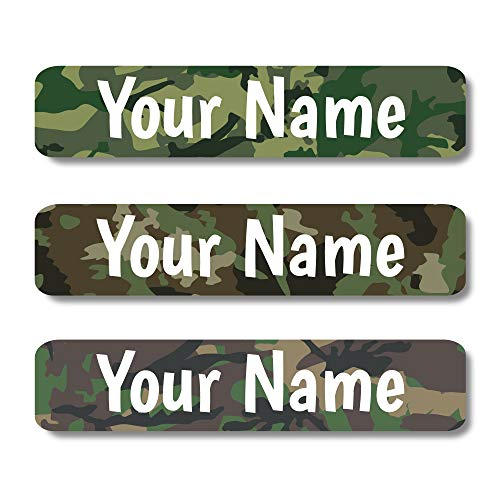 Lovable Labels Personalized Labels for Kids Waterproof Dishwasher Safe Peel and Stick Labels are Great for School Supplies Daycare Camp Items Clothing Bottles. (Camo)