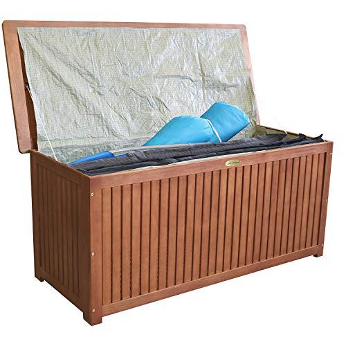 Wohaga® Hartholz Auflagenbox Kissenbox Gartenbox Auflagentruhe Eukalyptus geölt inkl. Innenfolie 133x58x55cm - 4