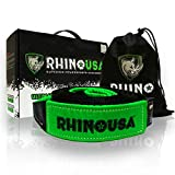 Rhino USA Recovery Tow Strap 3' x 30ft - Lab Tested 31,518lb Break Strength - Heavy Duty Draw String Included - Triple Reinforced Loop Straps to Ensure Peace of Mind - Emergency Off Road Towing Rope