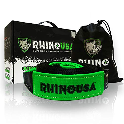 RHINO USA Recovery Tow Strap 3' x 20ft - Lab Tested 31,518lb Break Strength - Heavy Duty Draw String...
