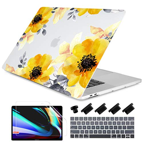 MacBook Pro 13 Inch Case 2019 2018 2017 2016 Release A2159 A1989 A1706 A1708 with/Out Touch Bar, Dongke Rubberized Frosted Matte Hard Shell Cover - Yellow Roses