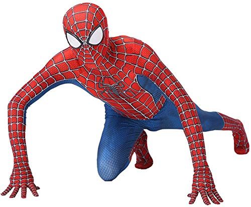 QWEASZER Peter Parker Spiderman Kostüm Halloween Karneval Cosplay Klassischer Spider-Man Anzug Lycra 3D-Druck Kostüm Party Film Kostüm Requisiten,Red-180~185cm