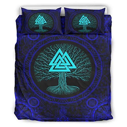 YOUYO Spark Juego de cama Viking Blue Tree con estampado de moda y acabado fino – Linens Birthdays blanco 264 x 228 cm