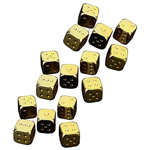 NINAINAI Würfelset (3 Sätze) Würfelwürfel Silber Golden Würfel Set Bar liefert Mahjong Schach Würfel Magische Tischspiele. (Color : Gold, Size : 16X16X16mm)
