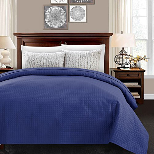 ALPHA HOME Lightweight Bed Quilt, Classical Pattern Comforter Bedspread Coverlet Blanket - Queen Size, Blue