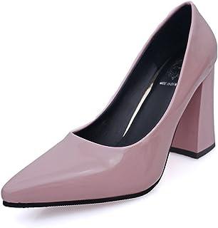 [ninifashion] パンプス レディース 美脚パンプス ポインテッドトゥ ハイヒール パンプス 痛くない 黒 結婚式 太ヒール 靴 PU 歩きやすい レディース ポインテッド 靴 おしゃれ 可愛い 7cm 白 黒 エナメル