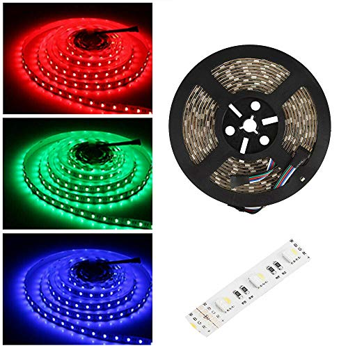 24V led strip RGBWW LED Streifen LED Band 5050 SMD RGB+Warmweiss 4 in1, 300 LEDs Lichterkette Lichtleiste Deko Lichter Treppenlicht, 60LEDs/M, 5M