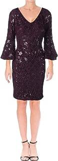 RALPH LAUREN Womens Purple Textured Floral Long Sleeve V Neck Knee Length Sheath Cocktail Dress US Size: 10