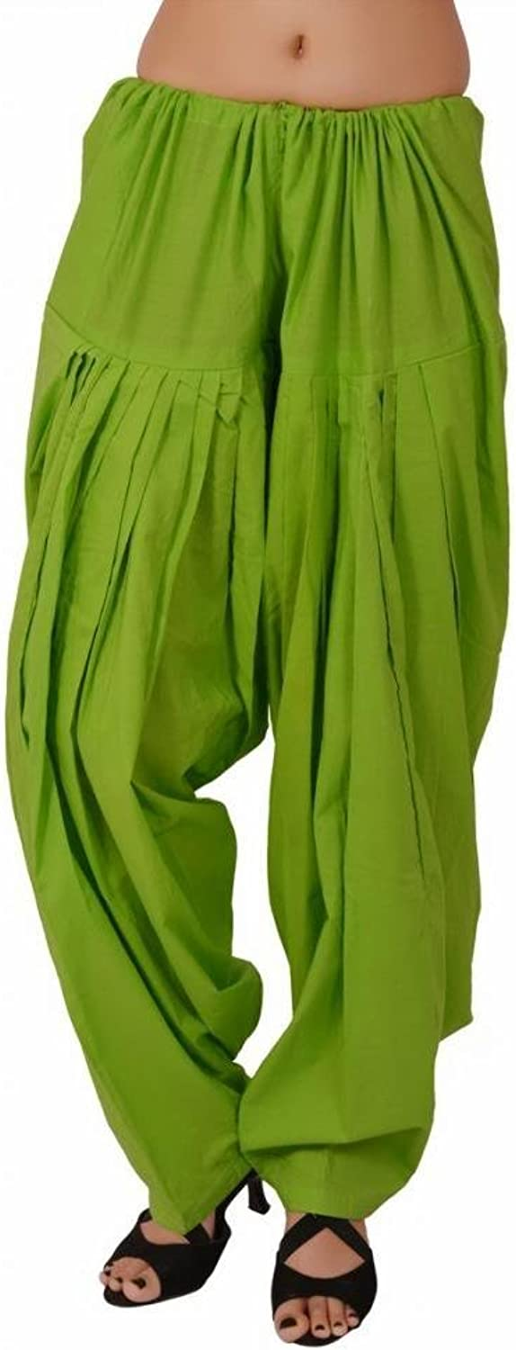 S & S Parred Green Cotton Semi Patiala Pants for Women