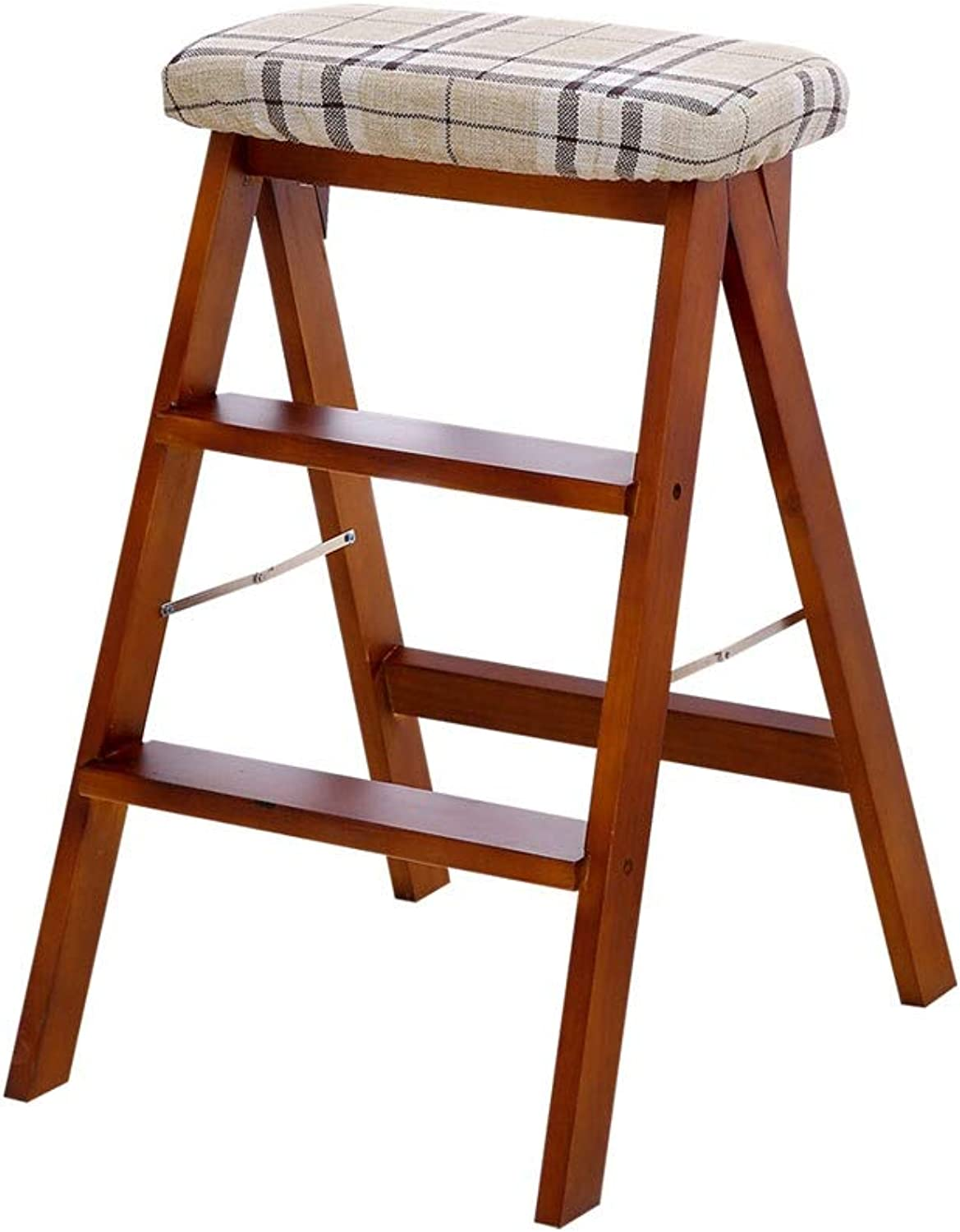 A+ Fabric Home Ladder Stool, Vintage Solid Wood Folding Chair, Simple Portable Four-Foot Stool, High Elastic Sponge Filling, Foldable, Easy to Store (color   Long Clause)