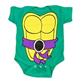 Teenage Mutant Ninja Turtles Green Donatello Costume Infant Baby Onesie Romper (Purple Belt) (18 Months)