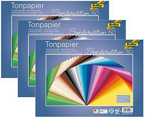 folia 6725/50 99 - Tonpapier Mix, 25 x 35 cm, 130 g/qm, 50 Blatt sortiert in 50 Farben - ideale Grundlage für vielseitige Bastelarbeiten   3er Pack