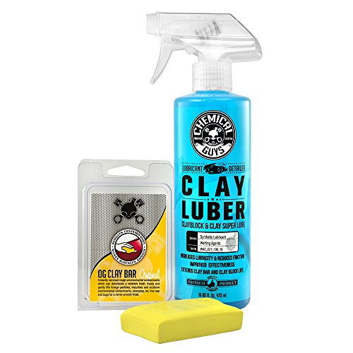Chemical Guys CLY_113 OG Clay Bar & Luber Synthetic Lubricant Kit, Light/Medium Duty (16 oz) (2...