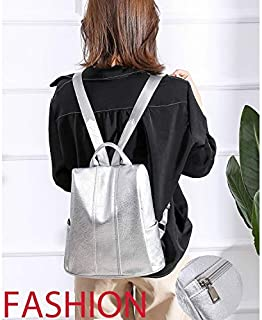 WTYD Double Shoulder Bag Solid Color Anti-Theft PU Leather Double Shoulders Backpack Bag Ladies Handbag (Black) (Color : Silver)