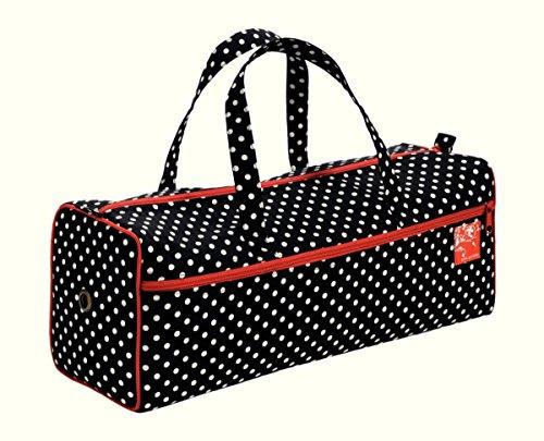 Prym Handarbeitstasche, für Stricknadeln, aus Baumwollgemisch, schwarz mit weißen Punkten und rot abgesetzten Kanten
