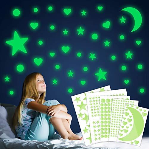 552 Piezas Luminoso Pegatinas de Pared Decoración de Fluorescente Luna Estrellas Puntos para Habitación Dormitorio Techo Niños