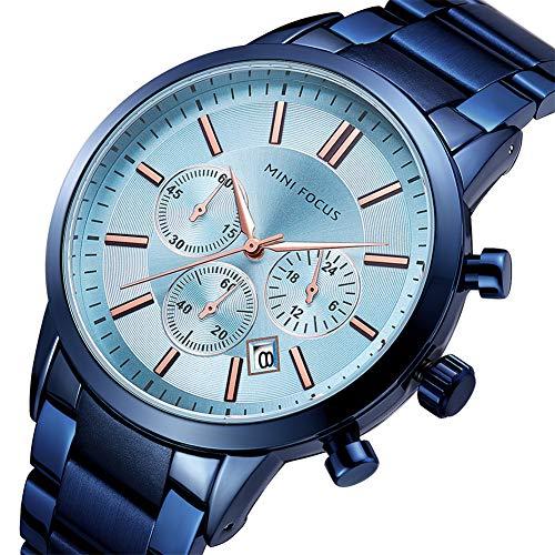 MINI FOCUS Luxusuhr Herren Chronograph wasserdichte Herrenuhren Quarz Edelstahl Business Armbanduhr Kalender,Leuchtzeiger,Lightblue