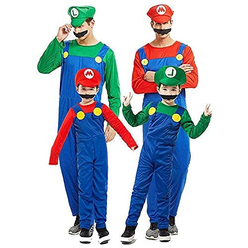 Super Mario Luigi gorra + pantalones + barba – Conjunto de disfraz para niños/adultos – perfecto para carnaval y cosplay (S,M, L, XL)