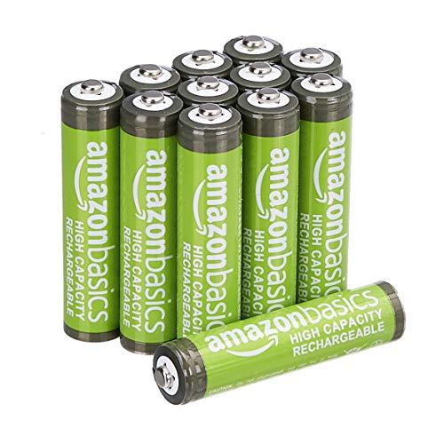 AmazonBasics AAA-Batterien mit hoher Kapazität, wiederaufladbar, 850 mAh, 12 Stück, vorgeladen