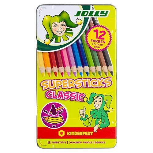 Jolly 3000-0246 Supersticks Buntstifte Classic, in Metalletui, Mehrfarbig (12er Pack)