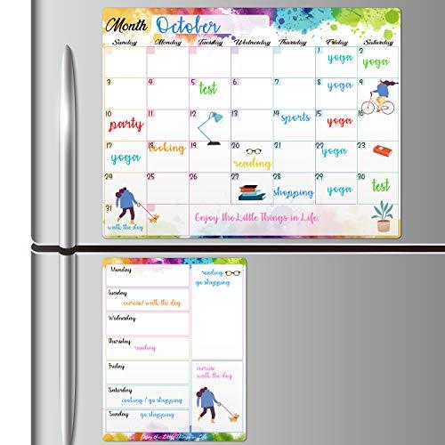 "Magnetic Dry Erase Fridge Calendar - White Board Magnetic Calendar for Refrigerator Wall Home Kitchen Decor, 15""x 11.5"", Grocery List Magnet Pad for Fridge"