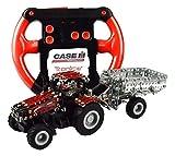 Tronico 09581 - Metallbaukasten Traktor Case IH Magnum 340 mit Kippanhänger und Fernsteuerung, Maßstab 1:64, Micro Serie, rot, 461 Teile