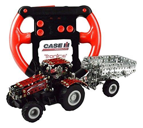 Tronico 09581 - Metallbaukasten Traktor Case IH Magnum 340 mit Kippanhänger und Fernsteuerung, Maßstab 1:64, Micro Serie, rot, 461 Teile*
