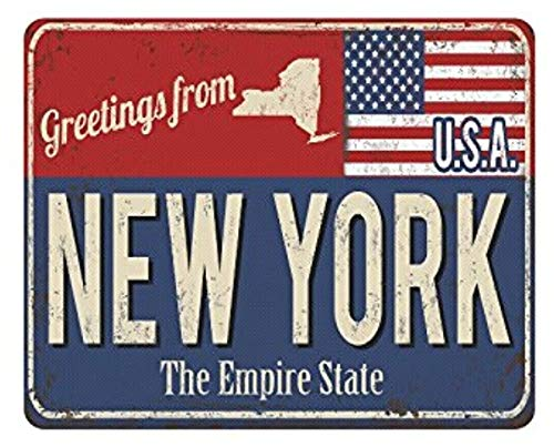 New York The Empire Rusty Metal Sign with USA Flag Rectangle Non-Slip Rubber Laptop Mousepad Mouse Pads/Mouse Mats Case Cover with Designs for Office Home Woman Man Employee Boss Work