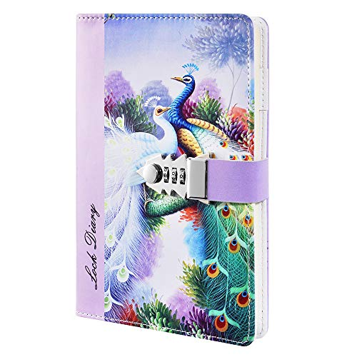 ZXHQ Journals for Girls with Lock, PU Leather Refillable A5 Lined Paper Combination Password Notebook, Writing Notepad Dirary with Pen Holder, 210x150mm