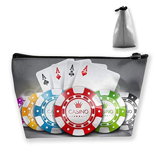 Borsa per trucco con fiches da poker Borsa da viaggio grande per riporre oggetti trapezoidali Lavaggio Custodia cosmetica Portapenne Cerniera impermeabile