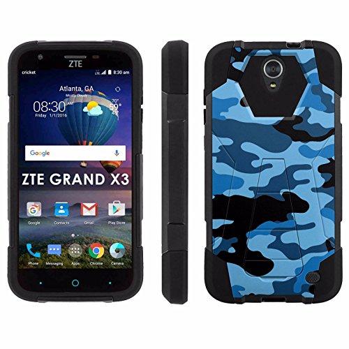 ZTE Uhura Grand X3 Z959 [Warp 7] Phone Cover, Blue Aqua Camo - Black Hexo Hybrid Armor Phone Case for ZTE Uhura Grand X3 Z959 [Warp 7]