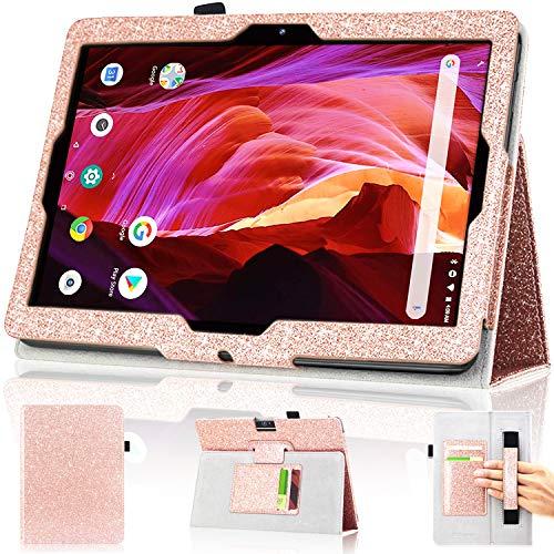 DMLuna Schutzhülle für Dragon Touch 10 Zoll K10 Notepad Max10 ZONKO K105 10.1 Tablet, Premium-Lederhülle Lectrus 10.1, Victbing, Hoozo, Winsing 10, mit Handschlaufe, Kartenschlitz, Glitzer Rose