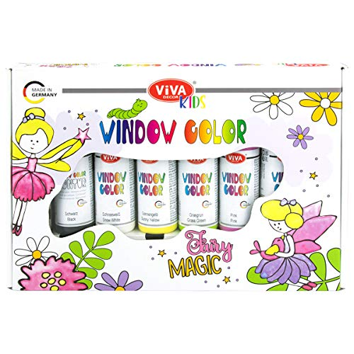 Viva Decor® Window Color Set Fairy Magic (6 Farben à 90 ml) Geschenkset Window Color Set Kinder mit 6 Fensterfarben in Geschenkverpackung mit 12 Motiven - Made in Germany