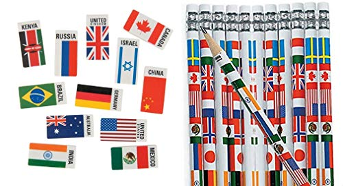 HAPPY DEALS ~ Set of 48 Pc ~ Multicultural Flag Pencils (24) and Flags of The World erasers (24) ~ Around The World Passport and Travel Favors