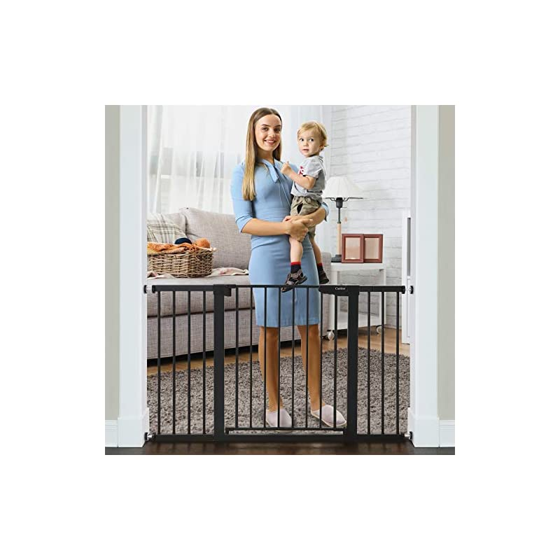 """dog supplies online cumbor 51.6"""" baby gates extra wide for stairs and doorways, durable safety dog gate for the house, easy walk thru auto close baby child gates, includes 2.75"""", 5.5"""" and 11"""" extension, mounting, black"""